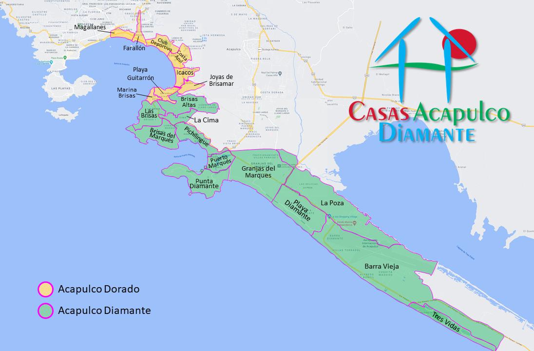 Mapa de áreas de Acapulco Diamante y Acapulco Dorado